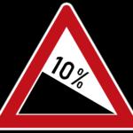Zeichen 108-10 Gefälle 10 %, Neu: die Unternummer entspricht dem angegebenen Zahlwert; bisher Zeichen 108-50