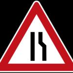 Zeichen 121-10 Einseitig verengte Fahrbahn – Verengung rechts